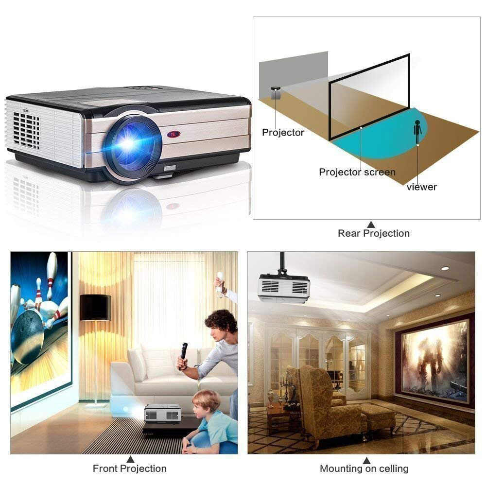A8 LED Astuto di Android WiFi Proiettore Home Cinema Bluetooth Proiettore Miracast Airplay Video Full HD Beamer Mobile Smartphone TV