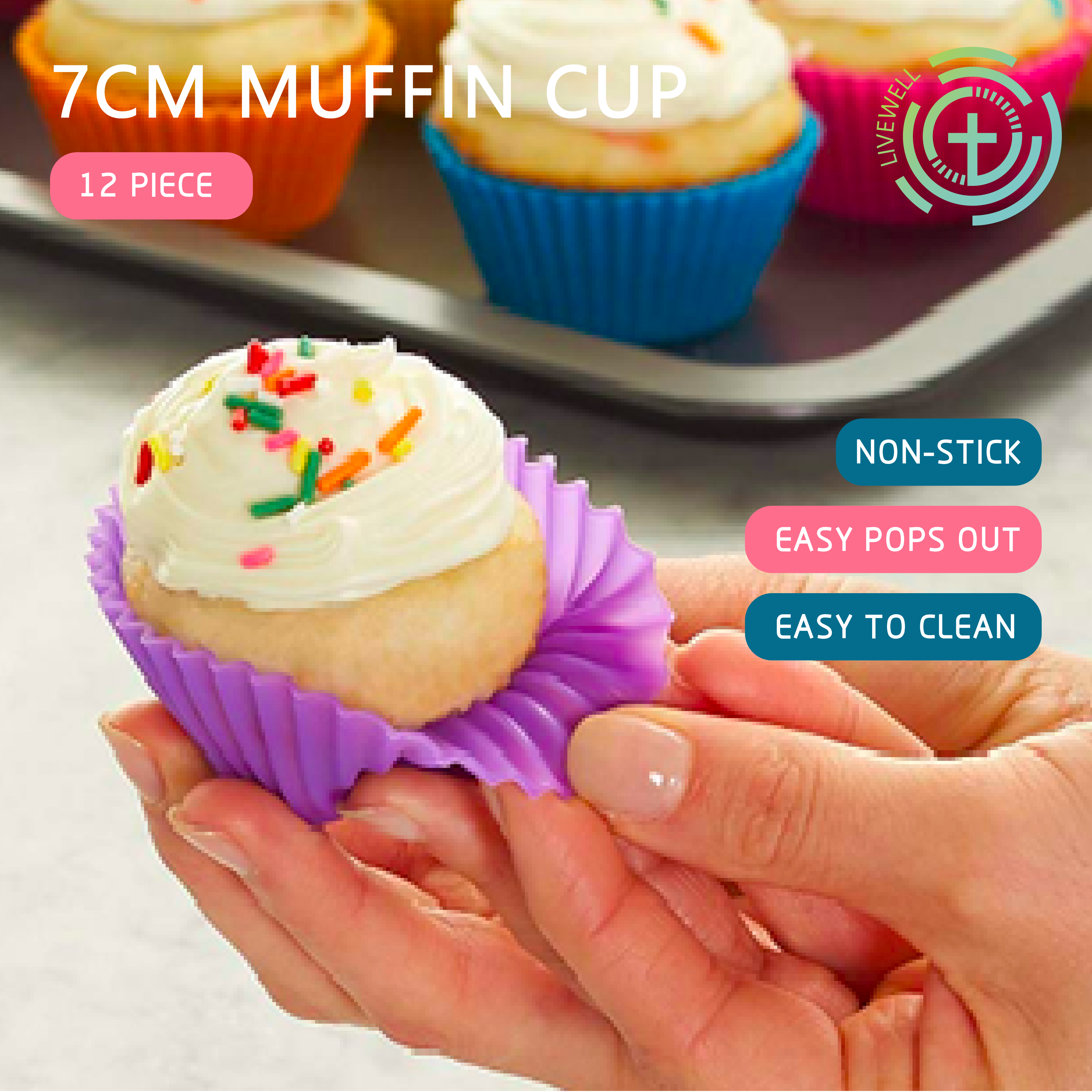 LeFull Set of 12 Pieces 7cm Muffin Cup For Kitchen Round Silicone DIY Baking  Cake Mould Muffin Cupcake Molds