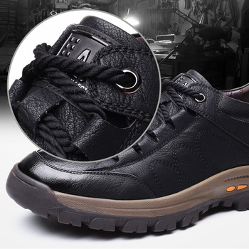 Brand New Men Casual Shoes Spring Split Leather Thick Buttom Wear resistant Shoes British Style