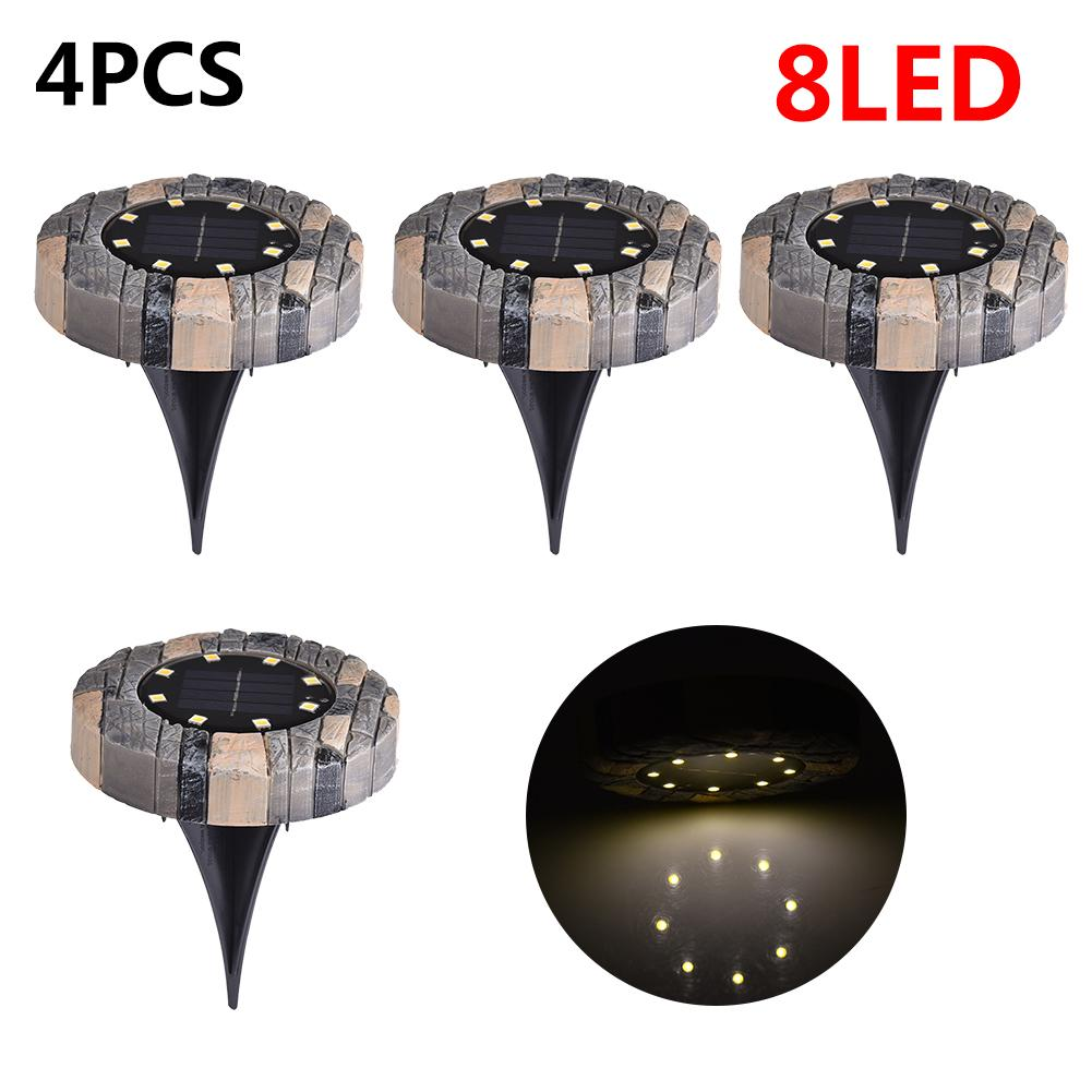 4 Pack Solar Ground Lights Simulated Stone Light 16 LED Waterproof Outdoor with Light Sensor for Lawn Pathway Yard Driveway|Underground Lamps| |  - title=