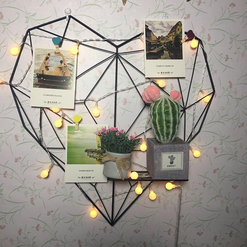 DIY Decoration Iron Storage Rack Holder Postcards Mesh Frame Home Bedroom Metal Heart-Shaped Photo Grid Frame Wall Photos Frame