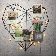 DIY decoración hierro estante de almacenamiento tarjetas postales Marco de malla hogar dormitorio Metal en forma de corazón foto rejilla marco pared fotos marco