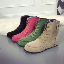 купить Shoes Woman Flat Ankle Motorcycle Boots Female Suede Leather Lace-Up Rubber Winter Boots Women Botas Mujer Autumn Boots дешево