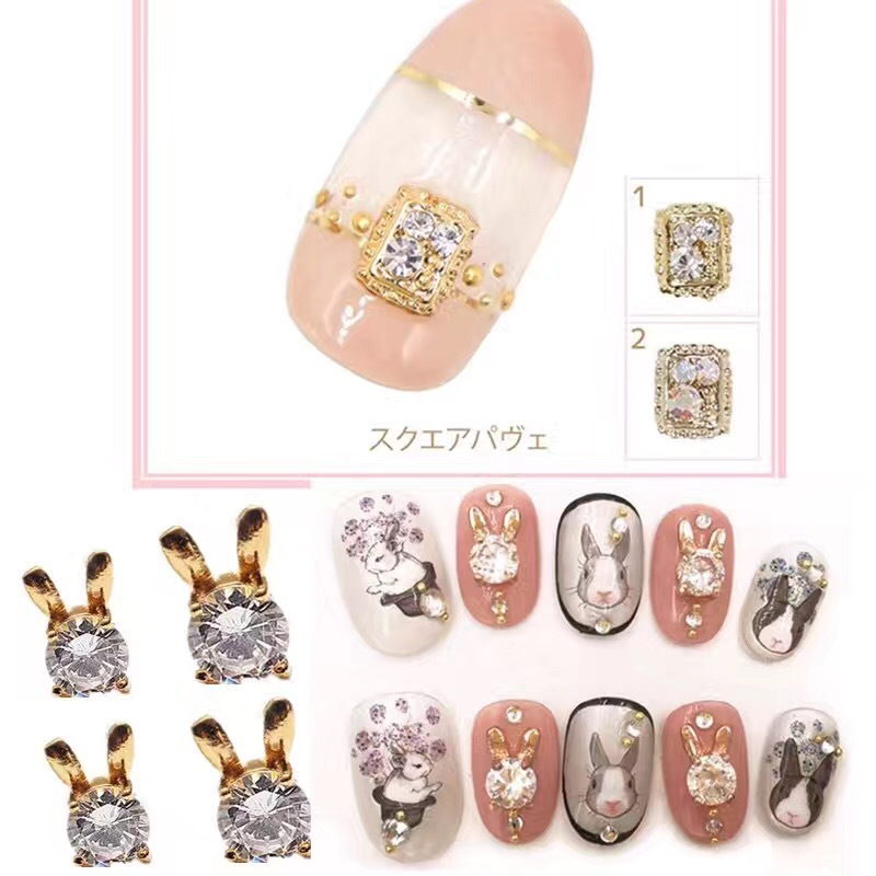 Japanese-style Celebrity Style Diamond Set Color Square Nail Ornament Metal Phototherapy Crystal Nail Sticker Alloy Bride Stick-