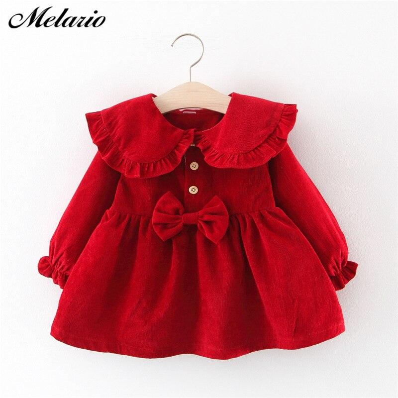 Melario bebê menina vestido de manga longa outono inverno vestido 1 ano de aniversário vestidos de princesa da criança meninas roupas de natal