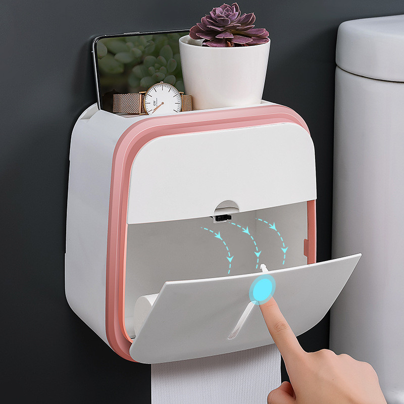 Paper Holder Waterproof Wall Toilet Paper Holder Shelf Creative Tray Tissue Box Paper Tube Storage Box For Bathroom Kitchen