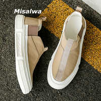 Misalwa 2020 New Arrival Sneakers Men Loafers Canvas Fabric Chelsea Men Flats Simple Round Toe Beige Gray Male Moccasins