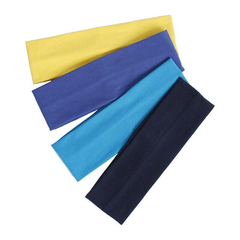 Diadema de algodón de Color sólido para mujer, ancho banda turbante deportiva para el sudor, banda elástica para el pelo para Fitness al aire libre, accesorios para el cabello para Yoga