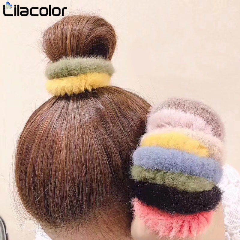 1 PC Hair Ring Rope Band Fashion Fluffy Faux Fur Furry Scrunchie Elastic Tie Round Girls Black White