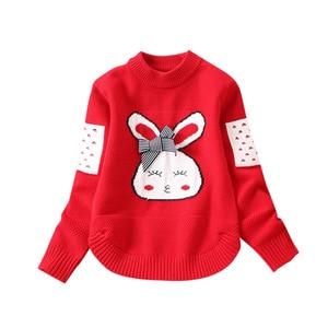 Image 3 - Girls Knitted Sweaters Pullover Tops Cartoon Rabbit Cute Knitting Shirt Little Girl outwear Children sweater Coat Kids knitwear