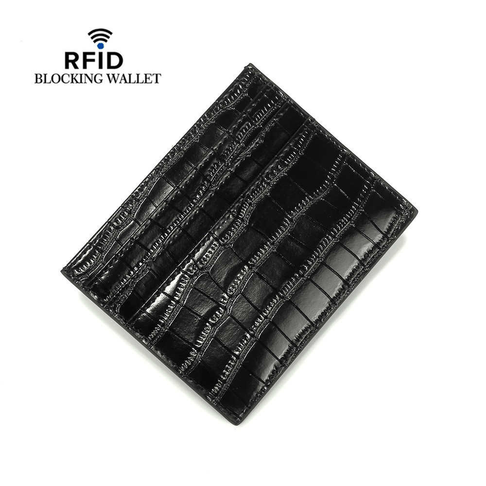 Split Cow Leather RIFD Card Wallets ID Card Holder Crocodile Pattern Vintage High Quality Coin Purse Short Slim Men Wallets