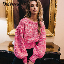 Darlingaga Otoño Invierno moda Crochet suéter mujeres Pullover Rosa Casual tejido mujeres suéter Crop Tops Jumper Pull Femme(China)