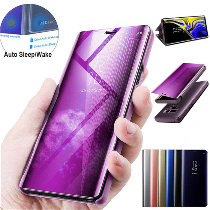 For <font><b>Samsung</b></font> Galaxy A2 CORE A90 A80 A70 A60 <font><b>A50</b></font> A40 A20E A10E <font><b>Flip</b></font> Phone Case Clear View Window Smart Mirror Holder Leather <font><b>Cover</b></font> image