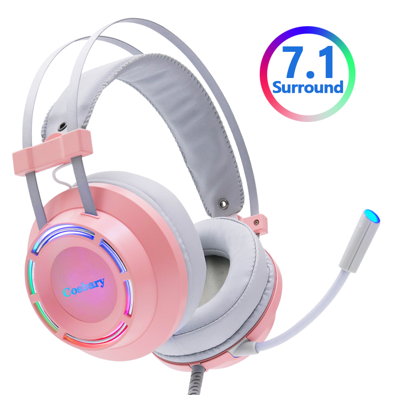 Pink Headphones Gaming Headset Wired with Microphone Professional Gamer 7 1 Surround Sound RGB Light for PC Computer Xbox One
