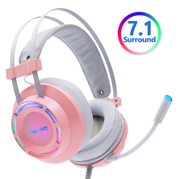 7 1 gaming headset with microphone headphones surround sound usb wired gamer earphone for pc computer xbox one ps4 rgb light Pink Headphones Gaming Headset Wired with Microphone Professional Gamer 7.1 Surround Sound RGB Light for PC Computer Xbox One