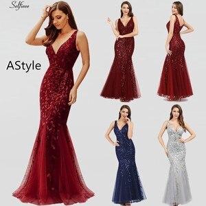 Image 4 - Nouveauté femmes élégantes robes col en v étincelle sirène moulante Maxi robes dété pour fête Vestidos De Fiesta De Noche 2020