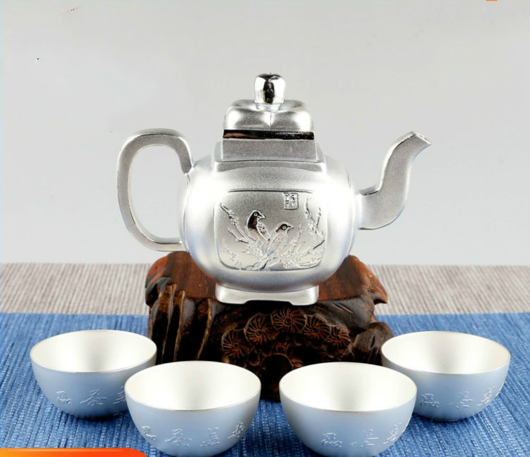Sterling Silver Tea Set, S999 Silver Tea Set, Plum Blossom, Silver Teapot, Chinese Kung Fu Tea