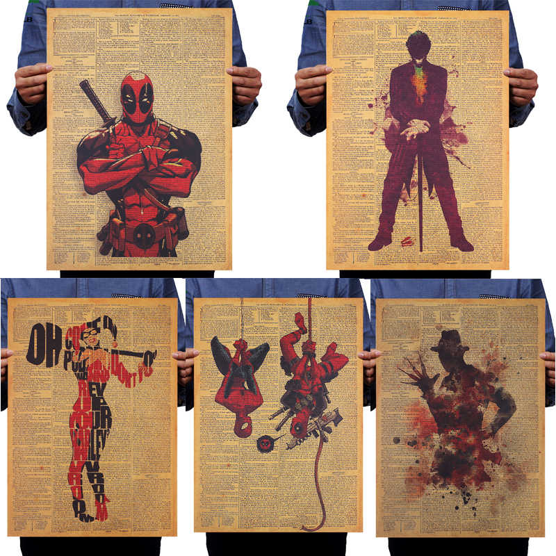 DLKKLB del Burlone Della Ragazza DC Marvel Movie Deadpool Freddy Poster Vintage Kraft di Carta Giornale Parete StickerHome Pittura Decorativa