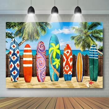 Summer Tropical Surf Backdrop Sand Beach Surfboard Background for Photography Hawaii Birthday Party Decor Event Banner
