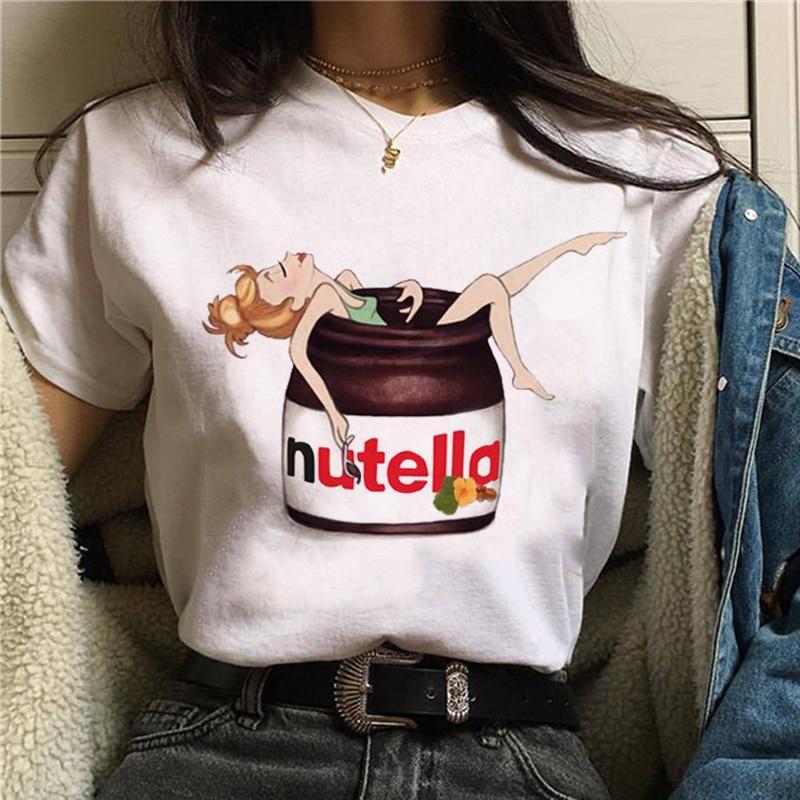 2019 Nutella Print T Shirt Women 90s Harajuku Kawaii Fashion T-shirt Graphic Cute Cartoon Tshirt Korean Style Top Tees Female