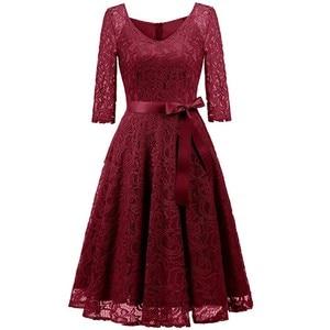 Image 2 - שמלת ערב 2020 רויאל בלו תחרה קצר פורמליות אלגנטית קו v צוואר חצי שרוול Robe דה soiree