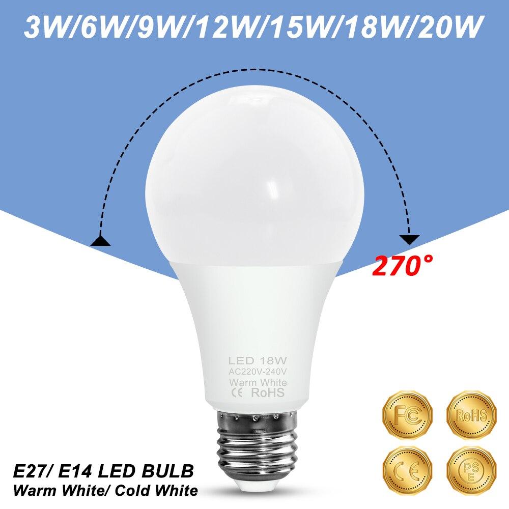 LED E27 Globe Ampoule 220V 240V 3W 5W 7W 9W 12W 15W 18W 20W Lampe Lumineuse rd