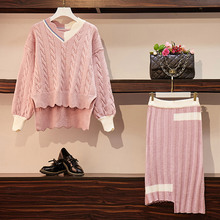 Banulin 2019 New Winter Autumn Women Irregular Striped Knitted Sweater Pullovers+Skirts 2 Pieces Sets Casual Clothes Suits