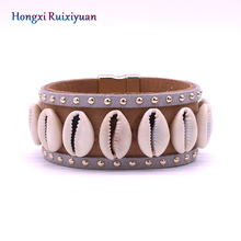 Shell bracelet fashion simple style leather bracelets for women natural conch ma
