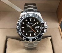 40mm PARNIS Sapphire Crystal  GMT Automatic machinery movement men's watches Black ceramic bezel pa170-pp8