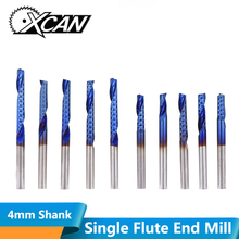 XCAN 1pc 4mm Shank 8-32mm Cutting Length Single Flute End Mill Nano Blue Coated 1 Flute Milling Cutter Carbide CNC Bits