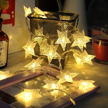 Batería Thrisdar/luz de cadena de hadas de estrella con alimentación USB 10/20/40/80 Luz de cadena de estrella de Navidad boda fiesta estrella guirnalda Luz