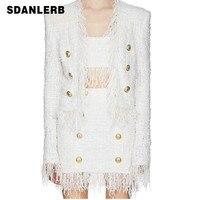 Blazer Sets Women V Neck Tassel Tweed Balzer Small Suit Jacket Autumn Winter Outfits White