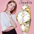 Часы SUNKTA женские  кварцевые  водонепроницаемые  розовое золото