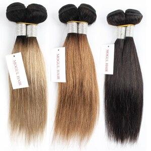Image 3 - Mechones de cabello MOGUL de 50g/pieza 4/6 mechones con cierre rubio miel con cierre T 1B 27 pelo humano brasileño liso Ombre Remy