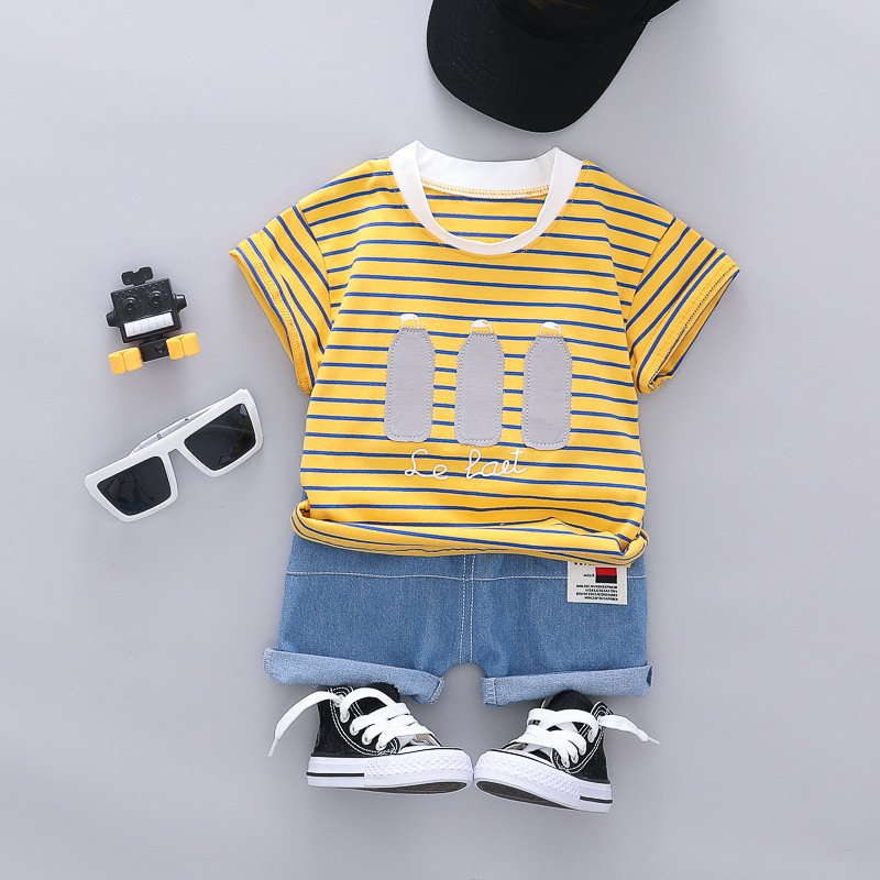 Baby Clothes For Girls Boys Summer Striped T-shirt Shorts Sets Children Clothing Short Sleeve Suit Toddler Outfit Bottler