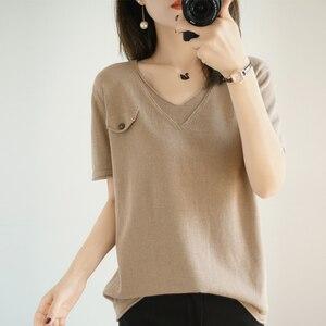 Novo decote em v de manga curta 100% algodão 2020 verão de malha de manga curta camiseta feminina solta pulôver de fundo fino