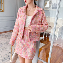Pink tweed jacket + skirt suit bead fabric / winter womens Business ladies 2 piece