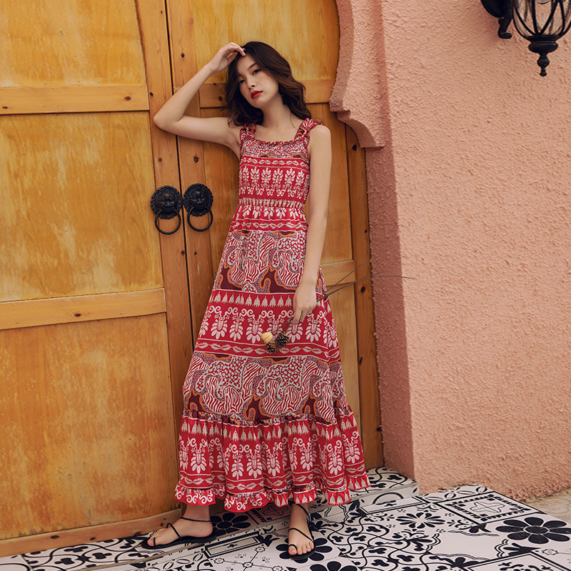Red Ethnic-Style Off-Shoulder Camisole Skirt Beach One-piece Dress 2019 New Style Women's Holiday Bohemian Long Skirts
