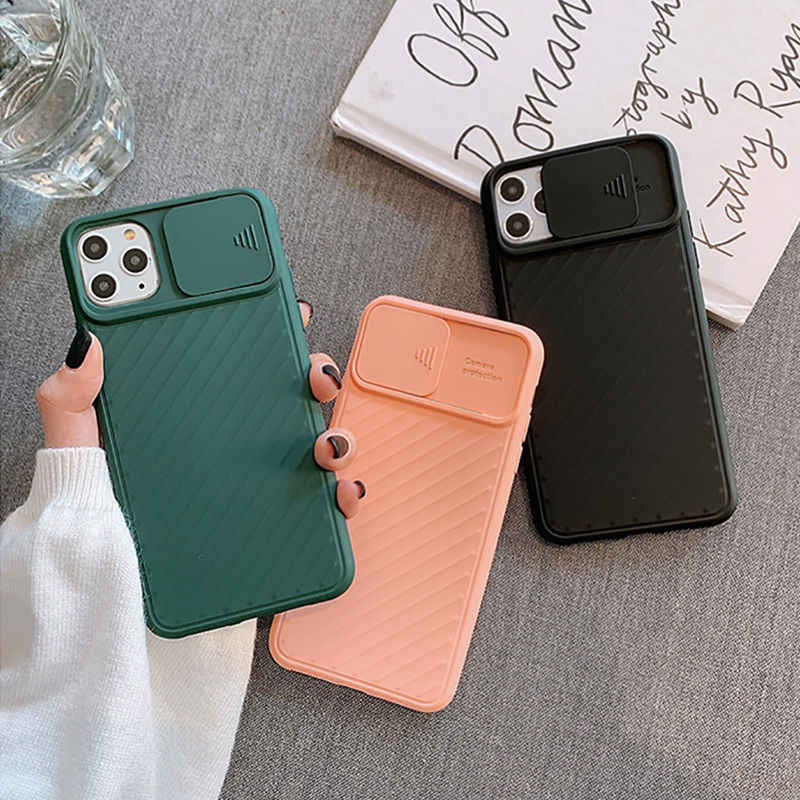 PC2923 Voor Iphone 11 Slide Camera Telefoon Bescherming Case Voor Iphone 11 Pro Max Xr Xs Max X 8 7 6 6S Plus 11 Pro Matte Cover Soft