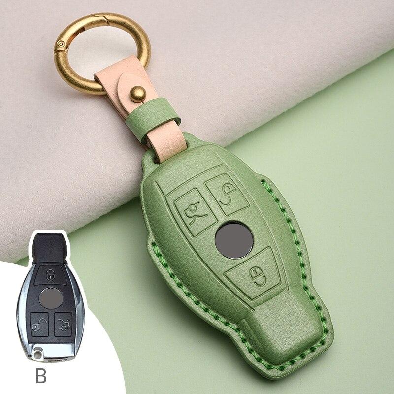 حافظة لمفتاح السيارة من الجلد الأصلي لهواتف Mercedes Benz W204 W212 CLK C180 E200 AMG C E S Class CLS CLA ملحقات