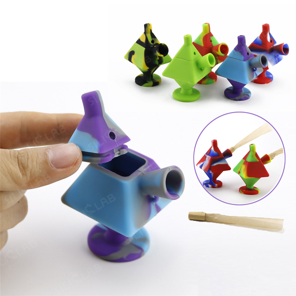 Hand Smoking Pipe Quartet Pipe Cubic Blunt Bubbler Silicone Tobacco Pipe For Dry Herb Wax Tobacco Easy Carry And Clean Wax Box