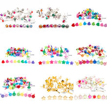 50PCSMix Flower Leaf Shape Rhinestone Studs And Spikes For Clothes Round Square Brads Scrapbooking Embellishment Fastener WD0033