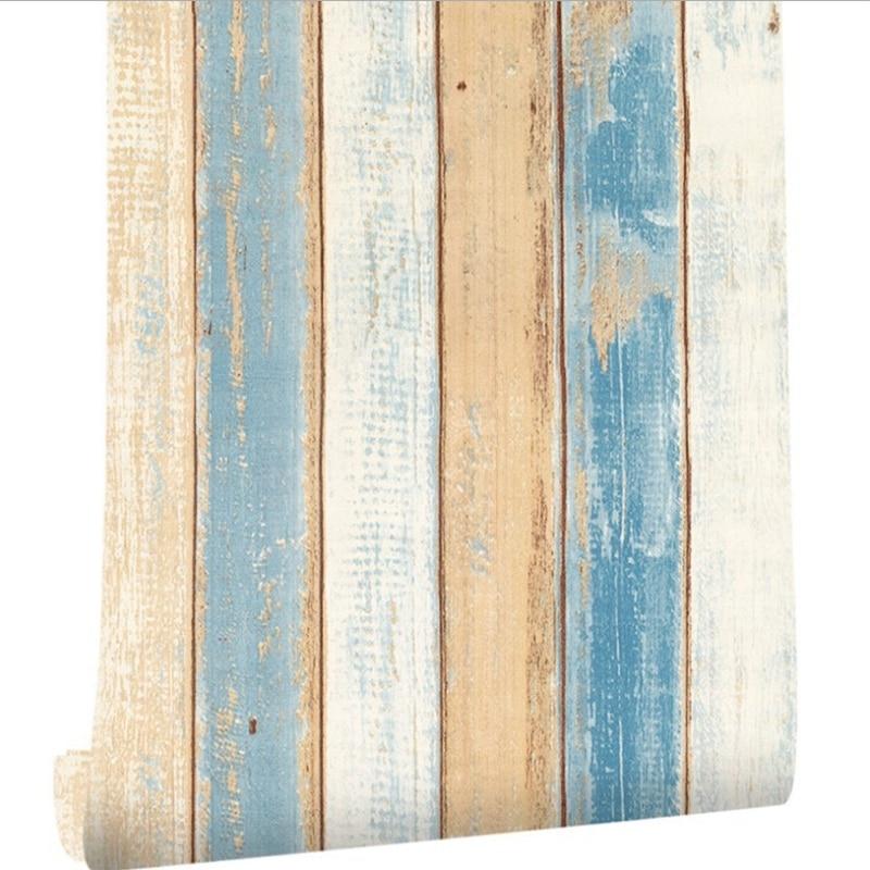 2 Pcs 6M Vinyl 3D Mediterranean Wood Grain Paper Self Adhesive Wallpaper Furniture Wall Stickers