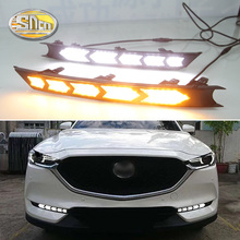 цена на LED Daytime Running Lights For Mazda CX-5 CX5 CX8 CX-8 2017 2018 drl fog lamp 12V ABS DRL Driving lights with turn signals