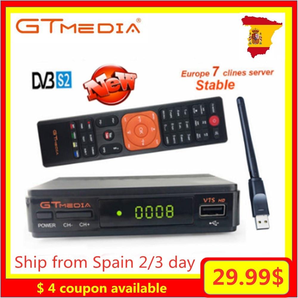 Offre spéciale espagne Gtmedia V7S HD TV récepteur décodeur DVB-S2 H.264 MPEG4 récepteur Satellite numérique 7 lignes 2 ans Europe serveur