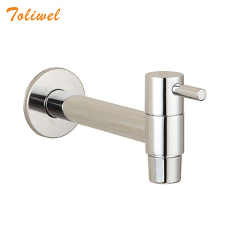 Extra Long Polished Chrome Laundry Bathroom Wetroom Kitchen Wall Mounted Brass Sink Faucet Outdoor Cold Water Tap Bibcocks