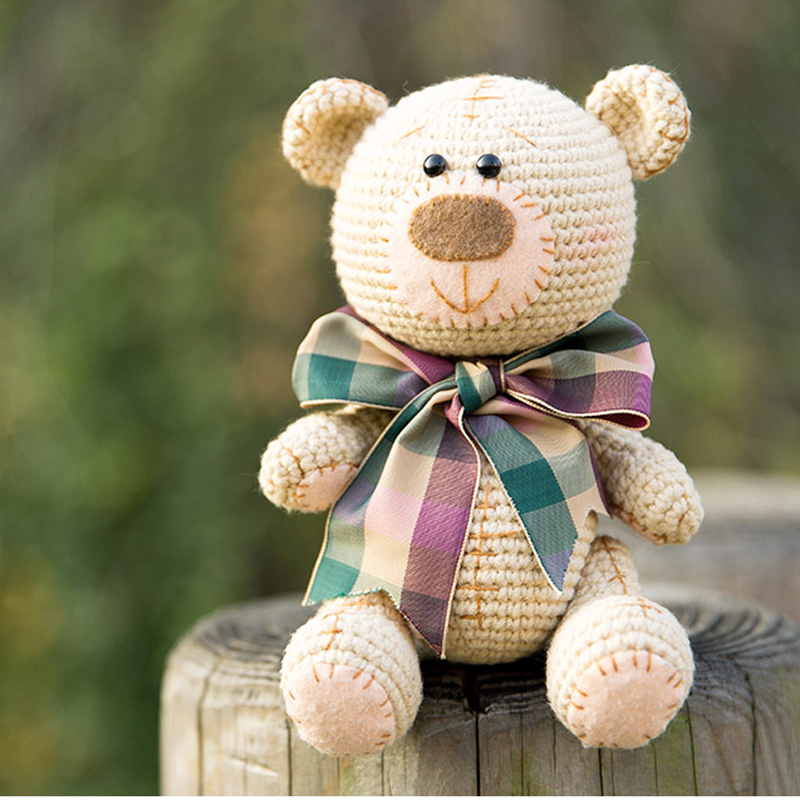 About18cm Lovely Handmade Bear Doll Crochet Toy Gift, Wool Knitted Doll Birthday Gift For Children (finished Product, Non-DIY)