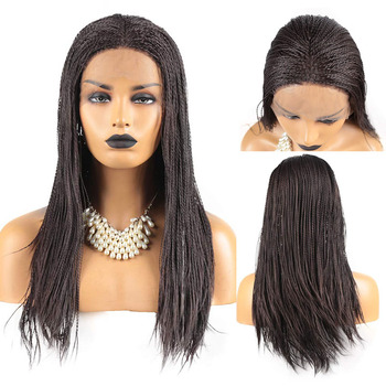 RONGDUOYI 500Pieces 2x Twist Braided Synthetic Lace Front Wig Dark Brown Heat Resistant Fiber Hair Braids Lace Wigs for Women