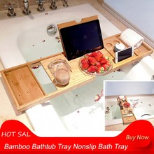 Bamboo Bathtub Tray Nonslip Bath Tray Spa Bathtub Caddy Organizer Book Wine Tablet Holder Reading Rack