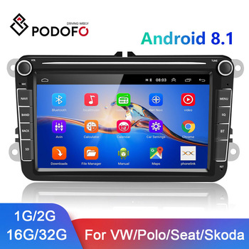 Podofo 2 din Android Car Radio 2+32G GPS Multimedia Player For Volkswagen/Golf/Polo/Tiguan/Passat/b7/b6/SEAT/leon/Skoda/Octavia image